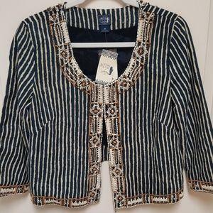 "NWT ""Irving & Fine beaded center hook jacket"